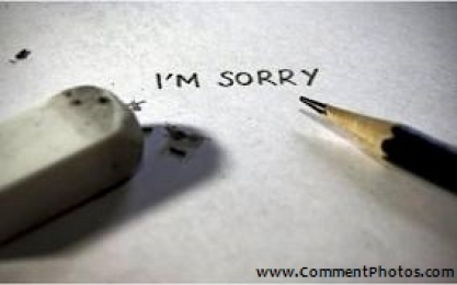I am Sorry - Written with Pencil - Eraser rubber