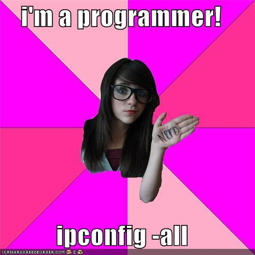 I am a programmer. ipconfig -all