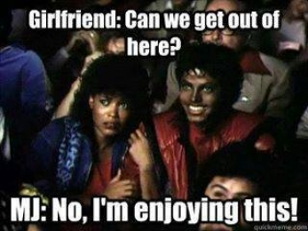 Girfriend- Can We Get Out Of here. Michael Jackson- I am Enjoying this - I Just Came Here To Read The Comments - Michael Jackson Eating Popcorn - Thriller Theatre - MJ