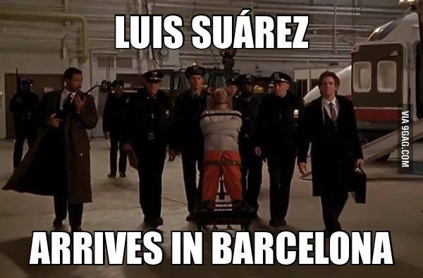 Luis Suarez Arrives In Barcelona - This Is Why I Bite People - Luiz Suarez in FIFA World Cup 2014
