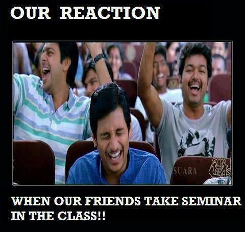 Our Reaction - When Our Friends Take Seminar In The Class - Nanban, Vijay, Jeeva