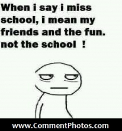 When I Say I Miss My School, I mean my friends and the fun. Not the School