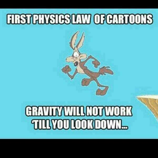 First Physics Law Of Cartoons - Gravity Will Not Work Till You Look Down - Wile E Coyote Cliff