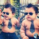 Funny Babies With Tie, Cooling Glass, No Shirt, Topless